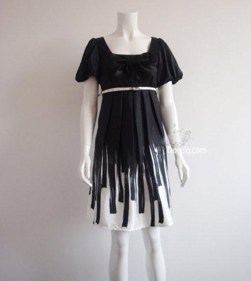Bowknot short sleeves silk dress 3 colors