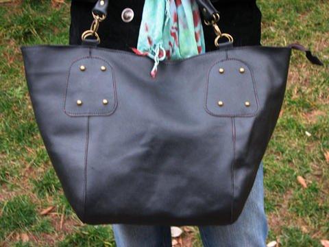 Large Mommy Bag - Black Genuine Leather