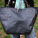Large Mommy Bag - Black Genuine Leather