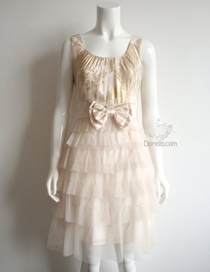 Ivory color romantic gauze party dress