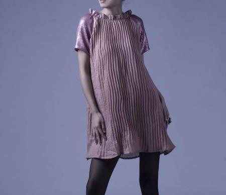 Pink Shine Sleeves Silk Dress