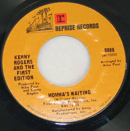"""Kenny Rogers and the First Edition """"Something's Burning/Momma's Waiting"""" Reprise  45 Vinyl"""
