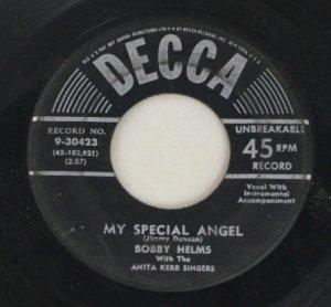 Bobby Helms-My Special Angel-Decca-45 Vinyl Record