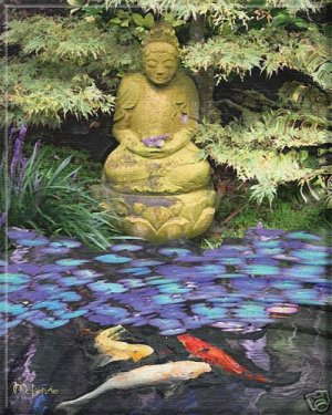 JAPANESE STATUE AT KOI POND