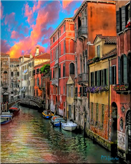 """""""FIERY CANAL"""" Hand Embellished Giclee  (24 x 30)"""
