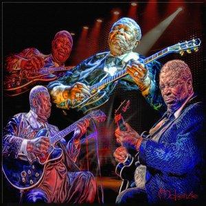"""""""Beale Street Blues Boy"""" BB King Mettallic Print  (20 x 30)"""
