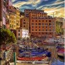 Tuscany Italy ART Camogli Harbor boats Italian PAINTING