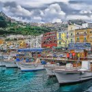 Tuscany ART Boats at Capri  Italian Villiage PAINTING