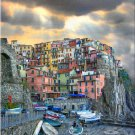 Tuscany ART Italian cliff Manarola boats Italy PAINTING