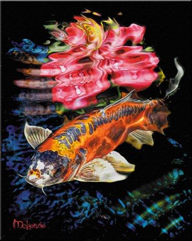 Japanese ART Koi surface fish pond Feng shui PAINTING