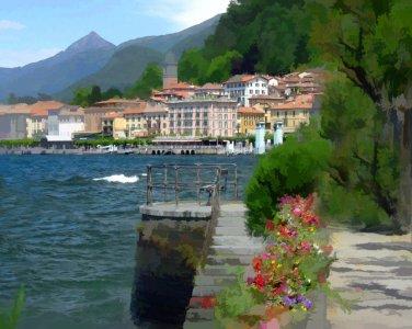 Tuscany ART Bellagio Coast shoreline Italian  PAINTING