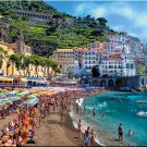 "Amalfi Coastline Tuscany ART Beach Coast Shore bathers Italian PAINTING (24"" x 30"")"