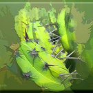 Abstract Green Cactus ART ORIGINAL MCKENZIE PAINTING