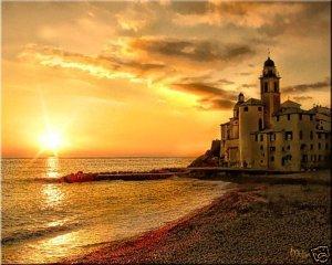 """Sunset at Camogli"" Tuscany ART Ocean shore Italy PAINTING (24"" x 30"")"