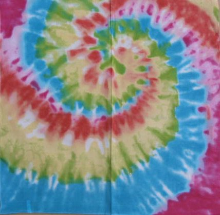 Tie Dye- 100 % Cotton- 22x22 In. Bandanas ( Ordered In Multiples of 12