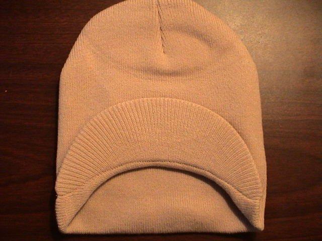 Khaki Single Visor Beanie - 100% Cotton- One Size Fits All- Beanies