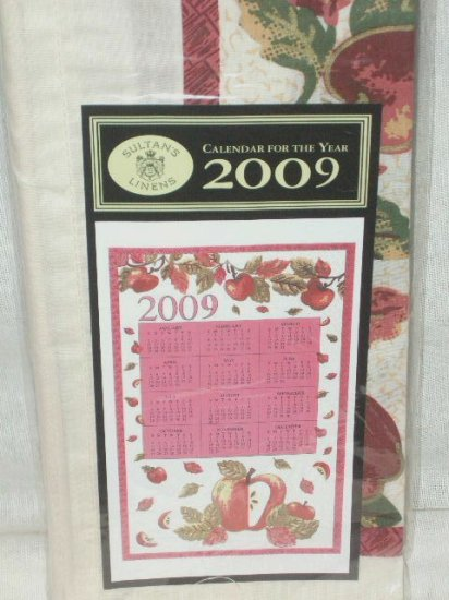 2009 Cloth Calendar Towel Apple Theme Collectible