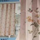 Pink Floral Fabric Shower Curtain Satin Stripes