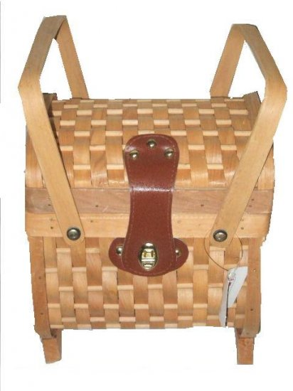 Wooden Picnic Basket Cloth Lined
