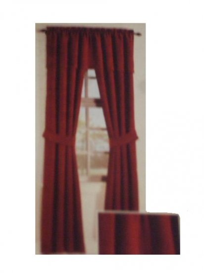 Burgundy Curtains Panels Valance Complete Curtain Set