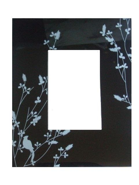 Black Glass Photo Picture Frame Floral Bird Silhouette