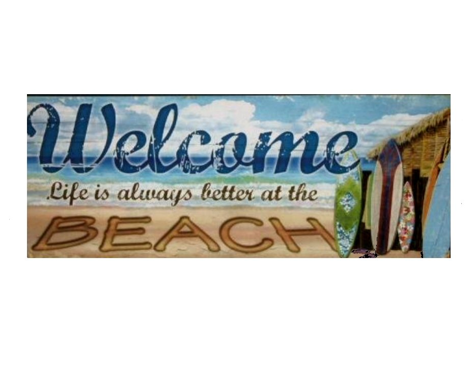 Beach Welcome Sign Wooden Plaque