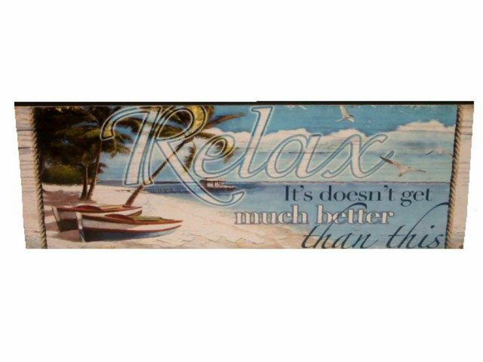 Beach Sign Relax Wooden Plaque