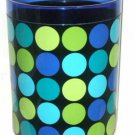 Contemporary Blue Green Dots Geometric Waste Basket