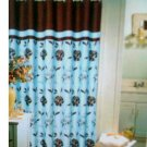 Blue Brown Floral Fabric Shower Curtain Popular Bath