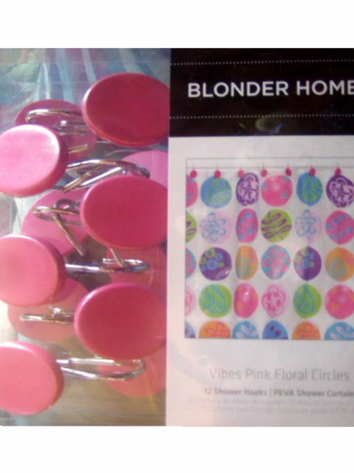 Funky Floral Shower Curtain and Hooks