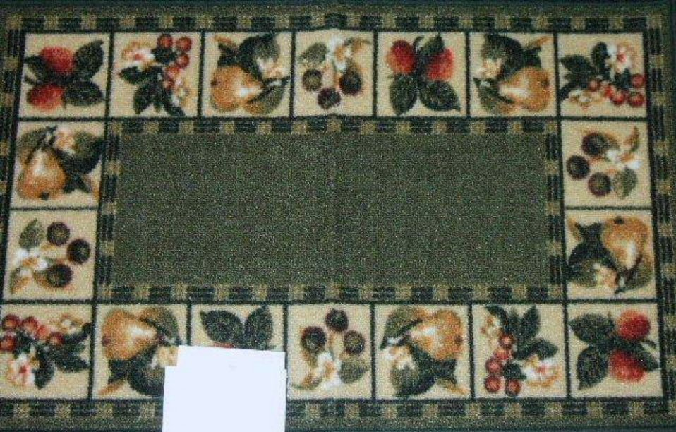 Apples pears and grapes fruit kitchen rug for Kitchen rugs with fruit design