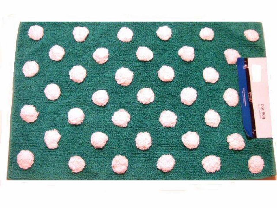 Turquoise Dots Throw Rug Bath Mat
