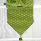 Green Floral Table Runner Silky Scroll Stratford Home