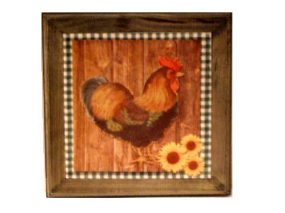Rooster Sunflowers Trivet Country Roosters Kitchen Decor
