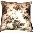 Sears Colormate Grey Roses Floral Toss Pillow