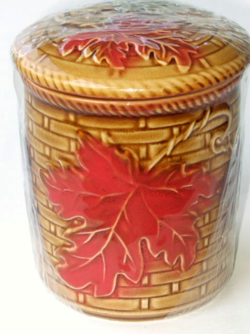 Fall Leaves Mini Ceramic Canister Autumn Kitchen Decor