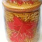 Fall Leaves Mini Ceramic Canister Autumn Kitchen Decor