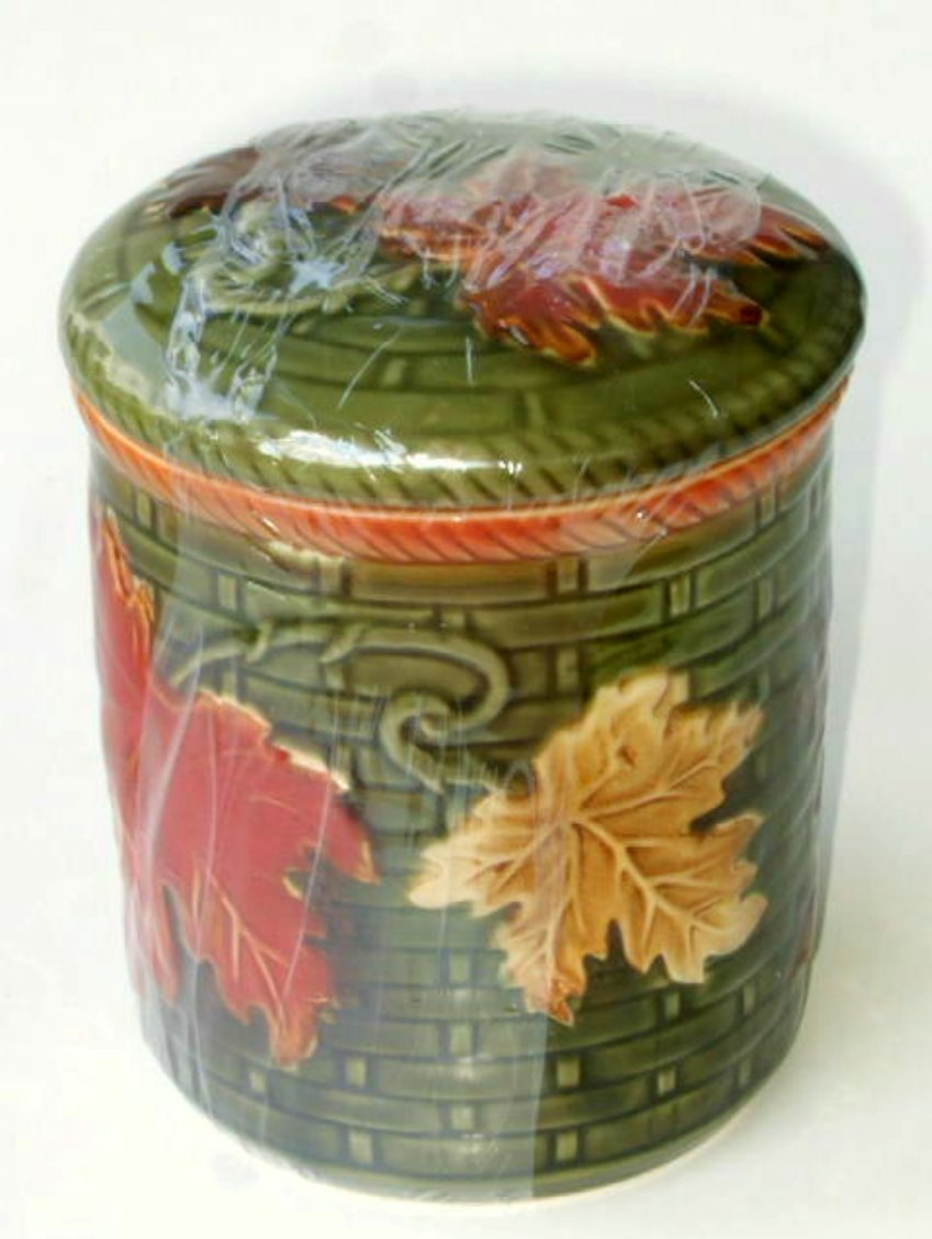 Autumn Leaves Mini Ceramic Canister