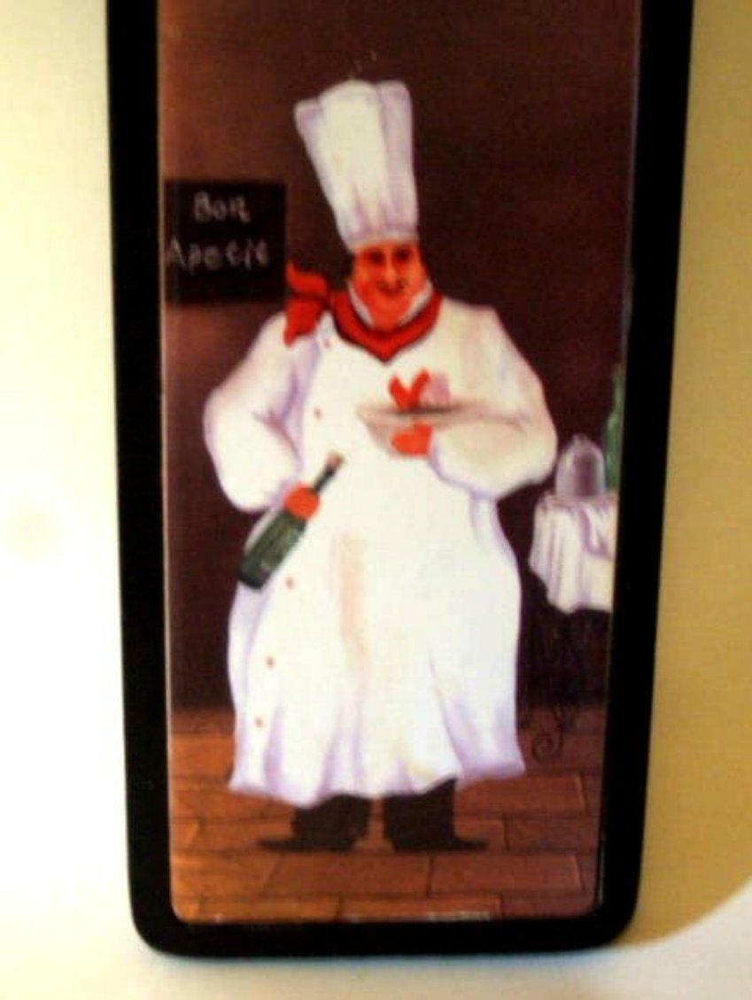 Fat French Chef Kitchen Wood Tile Picture Plaque
