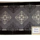 Black Gray Medallion Bath Mat
