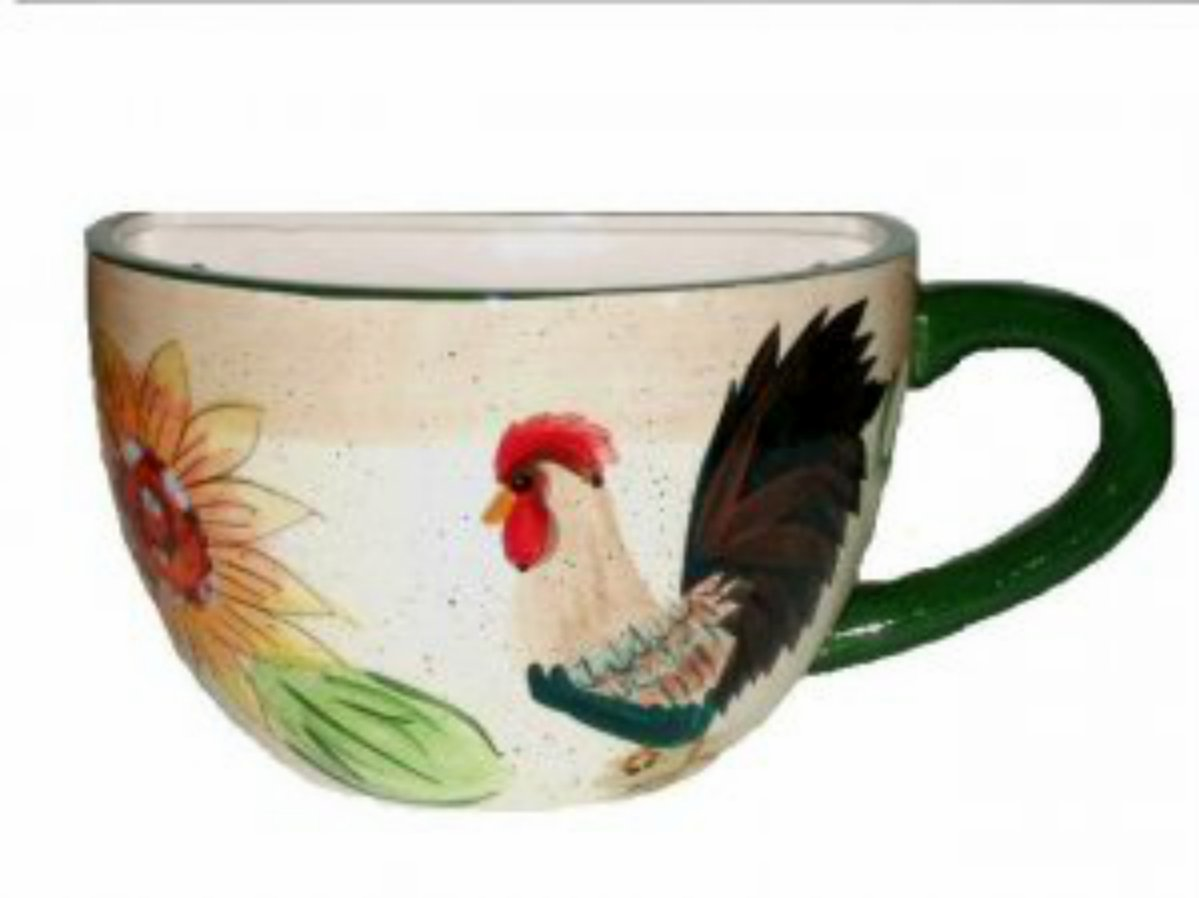 Large Coffee Cup Planter With Rooster And Sunflower Wall Decor