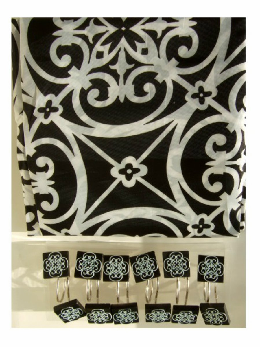 Black White Shower Curtain and Rings Floral Scroll