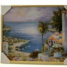 Seaside Port Framed Picture Tropical Palms Wall Art