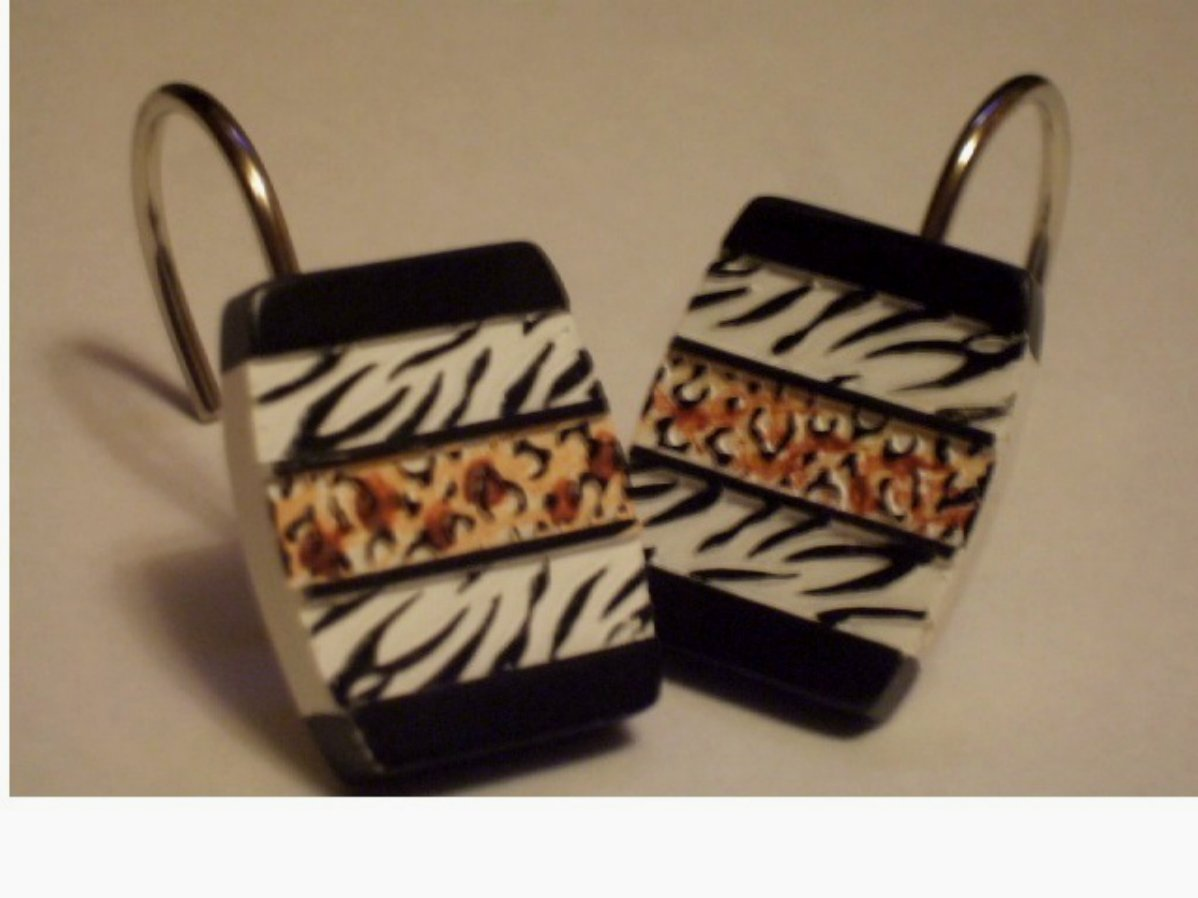Zebra Stripes Leopard Print Shower Curtain Hooks