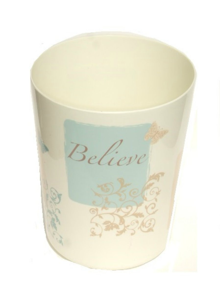 Butterfly Blessing Cream Waste Basket Believe Trust Praise Serve