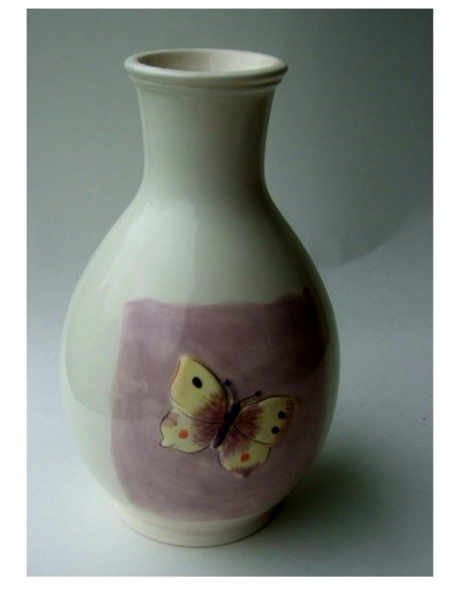 Amethyst Butterflies Ceramic Vase Decanter