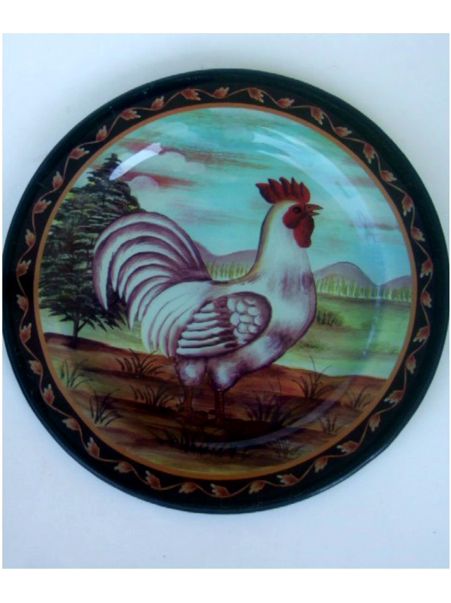 Country Rooster Plate with Stand