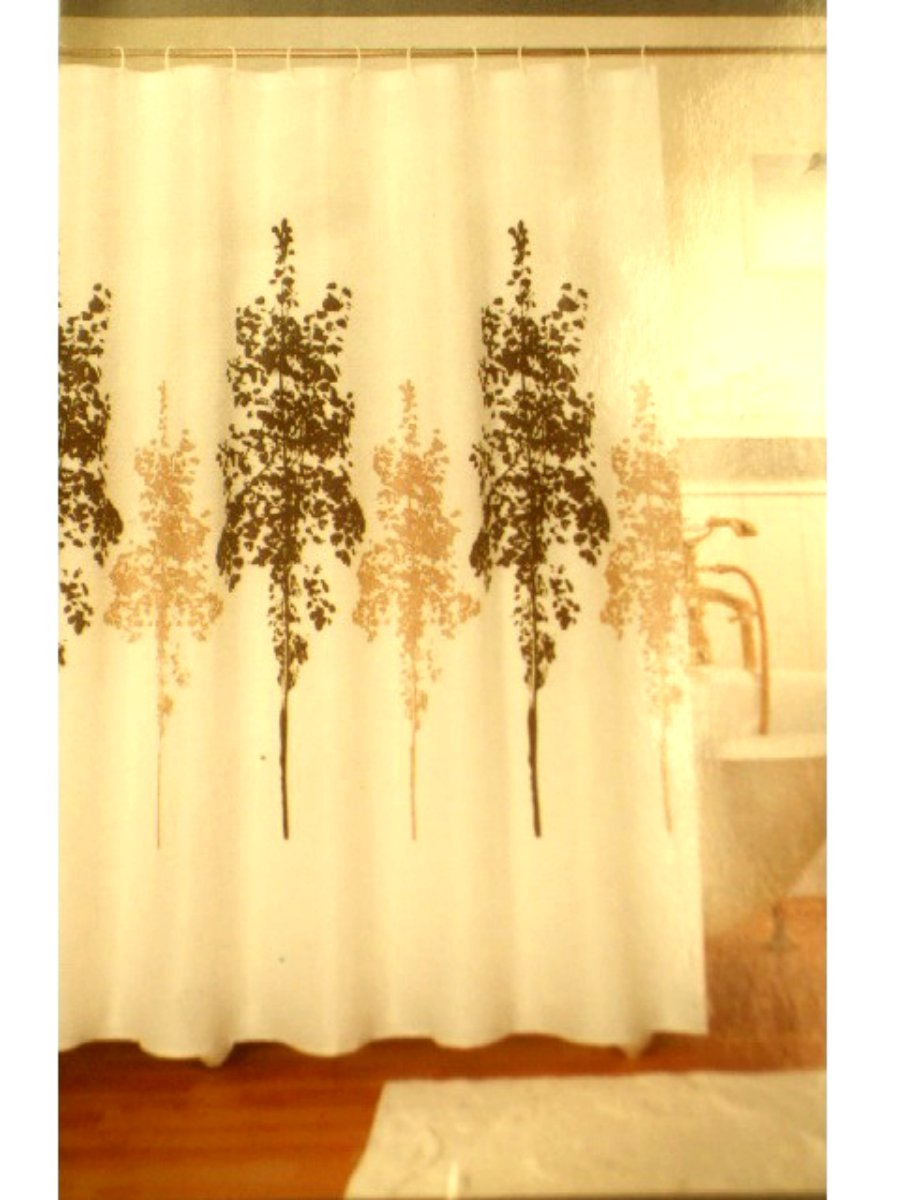 White Trees Fabric Shower Curtain
