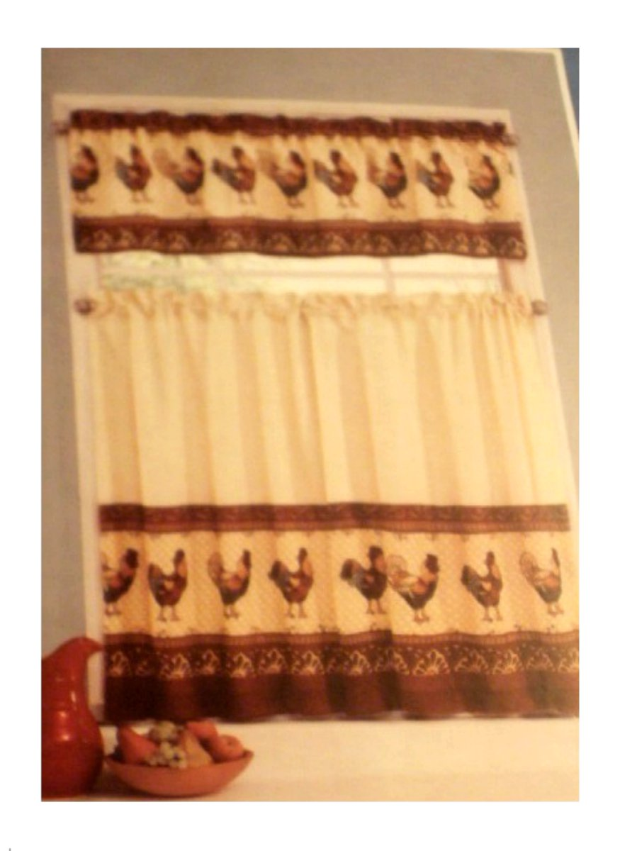 Tuscan Roosters Kitchen Curtains Tiers Valance Set