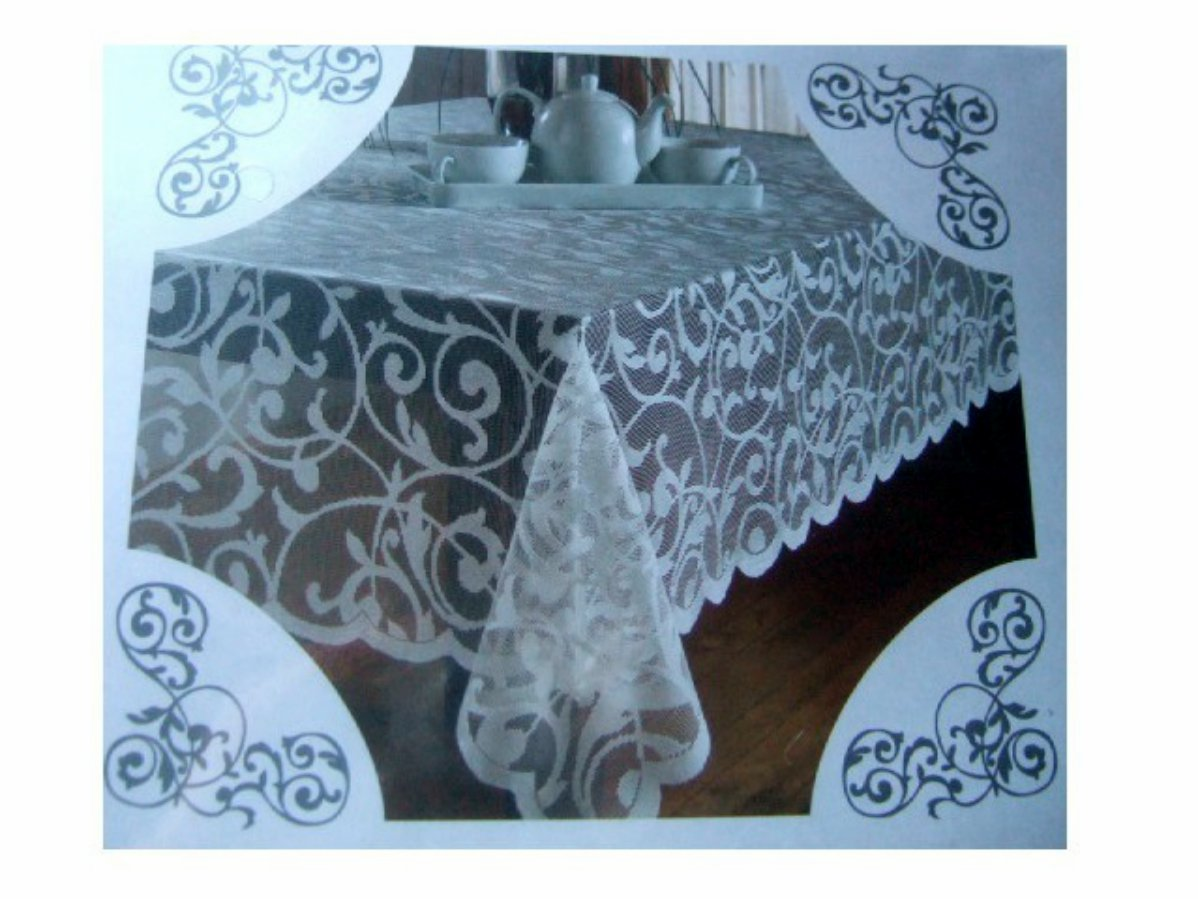 White Lace Scroll Tablecloth